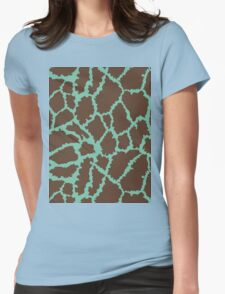 Blue Brown Leopard Skin Texture Womens Fitted T-Shirt