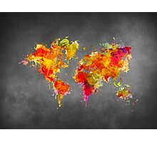 World Map splash red Photographic Print