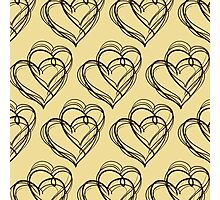 Brown Heart Pattern Photographic Print