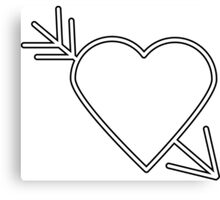 White Heart with Black Outline Arrow Canvas Print