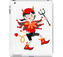 Kid role game playing as a devil. iPad Case/Skin