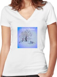 GOING HOME FOR CHRISTMAS Women's Fitted V-Neck T-Shirt
