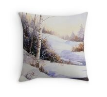 Watercolour winter scene Throw Pillow