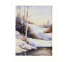 Watercolour winter scene Art Print