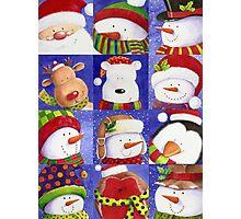 Cute Christmas gang - Santa, Snowman, Penguin, Polar Bear Photographic Print