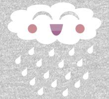 Kawaii Cloud Raindrops T Shirt One Piece - Long Sleeve