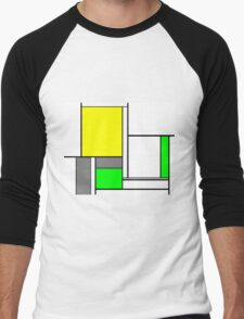 Faux Mondrian August Men's Baseball ¾ T-Shirt