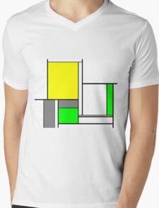 Faux Mondrian August Mens V-Neck T-Shirt