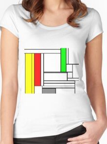 Faux Mondrian February Women's Fitted Scoop T-Shirt