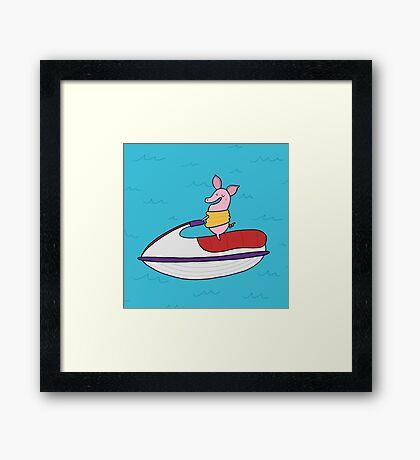 Jet Ski Pig Framed Print