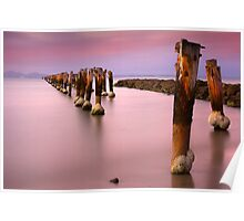 Old pier after Sunset - Clifton Springs Poster