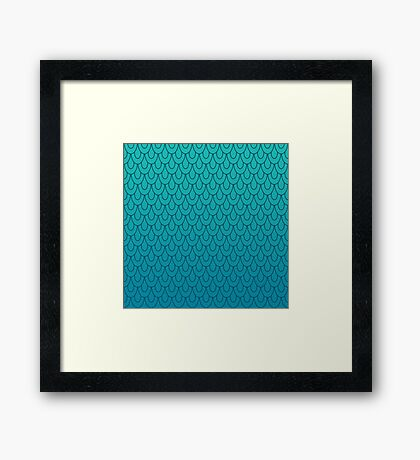 Mermaid Scales Turquoise to Teal Ombre Framed Print