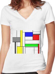 Faux Mondrian September Women's Fitted V-Neck T-Shirt