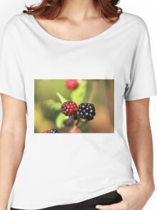 Red and black blackberry fruits. Women's Relaxed Fit T-Shirt
