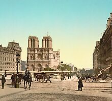 Vintage Paris Photo - Notre Dame and St. Michael Bridge - c1895 by VintageParis