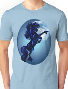 Rearing Stallion and Blue Moon Oval Unisex T-Shirt