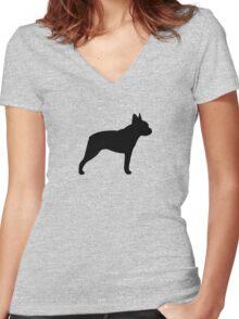 Boston Terrier Silhouette(s) Women's Fitted V-Neck T-Shirt