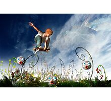 Skateboarder and friends Photographic Print