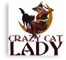 Crazy Cat Lady vintage halloween Canvas Print