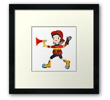 Boy role game playing as a firemen. Framed Print