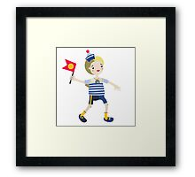Boy role game playing as a sailor. Framed Print