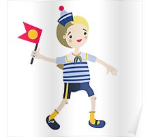 Boy role game playing as a sailor. Poster