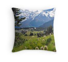 Mt. Rainier Anemones in the Sun Throw Pillow