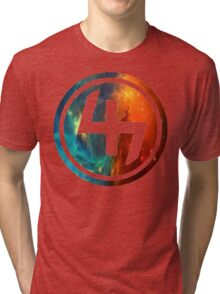 47 ORANGE AND BLUE NEBULA CIRCLE Tri-blend T-Shirt