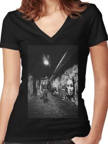 Seattle, Post Alley murals Women's Fitted V-Neck T-Shirt