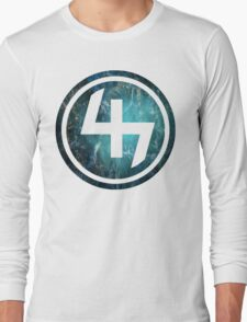 47 TEAL AQUA BLUE NEBULA CIRCLE Long Sleeve T-Shirt