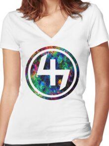 47 LSD ACID OIL CIRCLE  Women's Fitted V-Neck T-Shirt