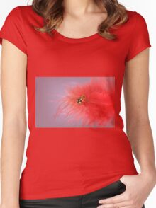 She wears red feathers Women's Fitted Scoop T-Shirt
