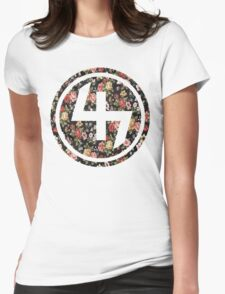 47 RED PINK YELLOW FLORAL CIRCLE Womens Fitted T-Shirt