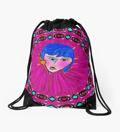Blue Hair and Pink Cheeks Drawstring Bag