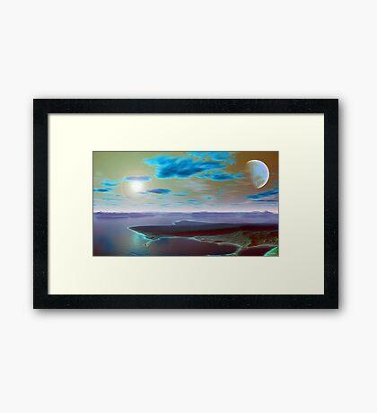 """LANDSCAPE IN BLUE AND GREEN"" Framed Print"