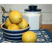 Lemons & Blue and White China Photographic Print