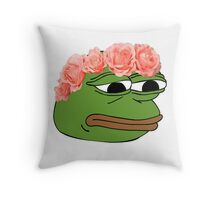 Flower Crown Pepe Frog Throw Pillow