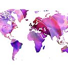 World Map 20 Pink and Purple by Sharon Cummings by Sharon Cummings