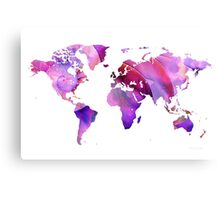 World Map 20 Pink and Purple by Sharon Cummings Canvas Print
