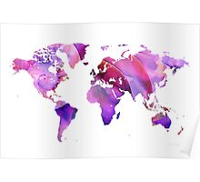 World Map 20 Pink and Purple by Sharon Cummings Poster
