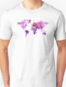 World Map 20 Pink and Purple by Sharon Cummings T-Shirt