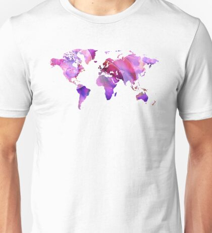 World Map 20 Pink and Purple by Sharon Cummings Unisex T-Shirt