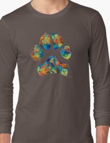 Colorful Dog Paw Print by Sharon Cummings Long Sleeve T-Shirt