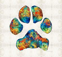 Colorful Dog Paw Print by Sharon Cummings by Sharon Cummings