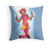 Girl Skipping Rope -- On Blue with Corona Throw Pillow