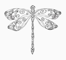 patterned dragonfly ink drawing One Piece - Short Sleeve