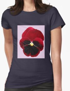 Red Pansy on Pink Background T-Shirt