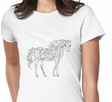 Patterned horse ink drawing Womens Fitted T-Shirt