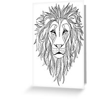 patterned lion ink drawing Greeting Card