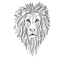 patterned lion ink drawing Photographic Print